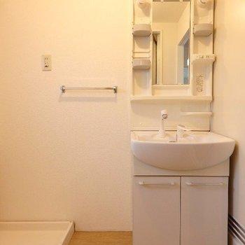 独立洗面台の隣に洗濯機(※写真は4階の同間取り別部屋のものです)