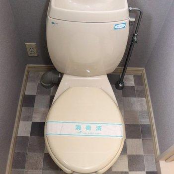 床の模様が可愛い個室トイレ