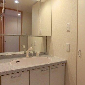 大きな鏡の洗面台※写真は3階の同間取り別部屋のものです