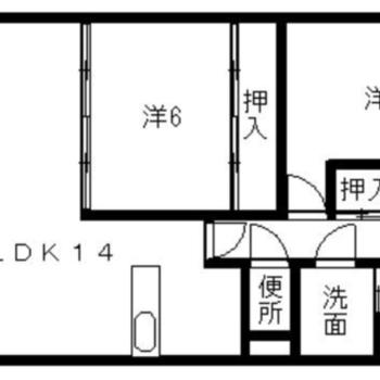 2LDKのお部屋。2人暮らしにもピッタリ♪