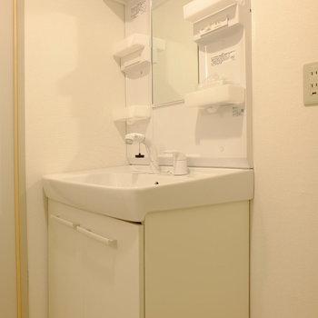 洗面台もピッカピカ (※写真は2階反転間取り別部屋のものです)