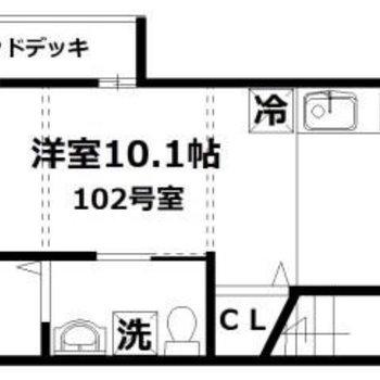 広々ワンルームのお部屋です。