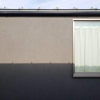 眺望その2。お隣さんの壁。目が合うことは滅多になさそうです。