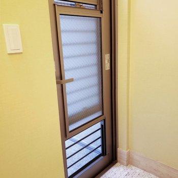 窓みたいな玄関扉。安心して換気ができますね。※写真は前回募集時のものです