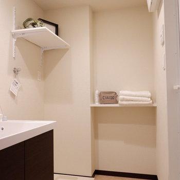 脱衣所もゆったりしています。※写真は2階同間取り別部屋のものです