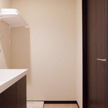 脱衣スペースもありますね。※写真は2階の同間取りの別部屋のものです