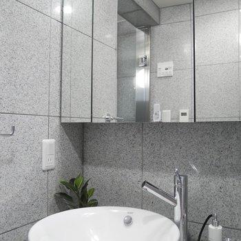 独立洗面台は鏡が大きくて嬉しい!!この洗面ボウルかわいい〜
