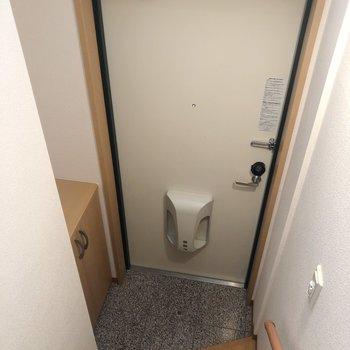 玄関はコンパクトめ※写真は2階の同間取り別部屋のものです