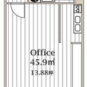 オフィスとしても使える広いワンルーム。