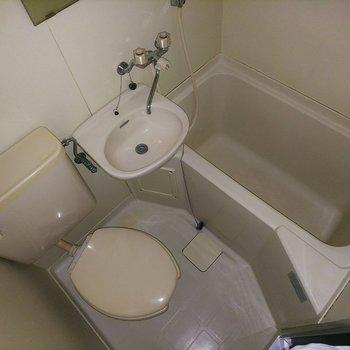 お風呂は3店ユニット式です。 ※通電前のお部屋であるためフラッシュ撮影を使用しています。