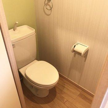 トイレはシンプルに。棚もありますよ!そしてここも爽やか緑! (※写真は補修前のものです)