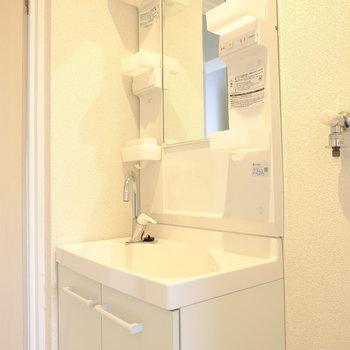 ポケットが嬉しい洗面台※写真は3階の似た間取り別部屋のものです