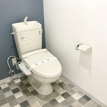 空間が広いトイレ、青のクロスと床のタイルに惚れちゃう