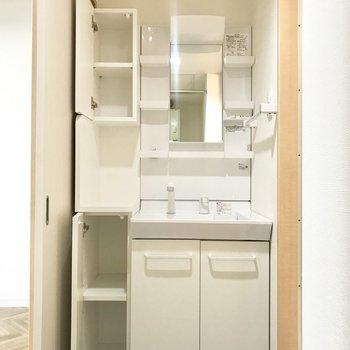 実は欲しかった脱衣所の収納。洗面台の横にあります。