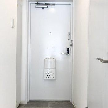 無機質な白のドアが素敵な玄関※写真は同間取り別部屋です