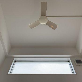 天井にはファンが付いている!これで空気も循環できます