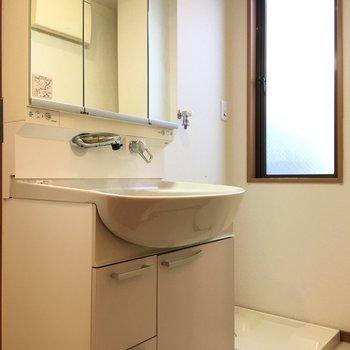 洗面台と洗濯機置き場はお隣さん。
