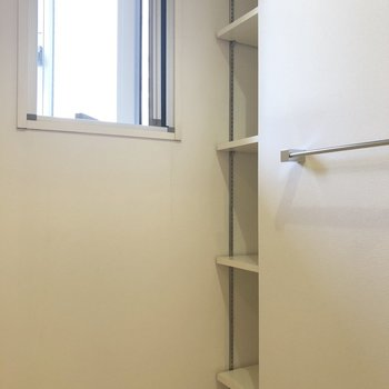 洗剤やタオルなどをしまうのに良さそうな可動式の棚。