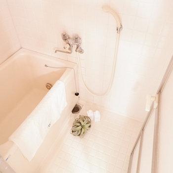 お風呂はシンプル。※写真は3階の同間取り別部屋のもの、家具はサンプルです