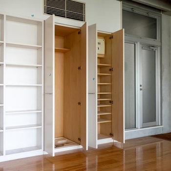 収納が充実しています。洗濯機置場もこちらに。※写真は4階同間取り別部屋のものです