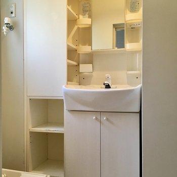 収納箱が沢山でなんだかわくわくした。洗面台ぎゅっと入り込んでる〜!
