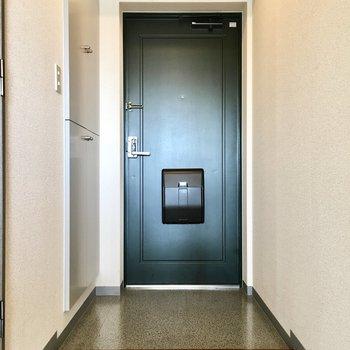 深みのあるグリーンのドアが高級感を出してます。