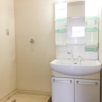 脱衣所には洗面台と洗濯機。