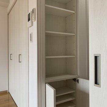 キッチンの後ろには調味料やお皿などが収納できます