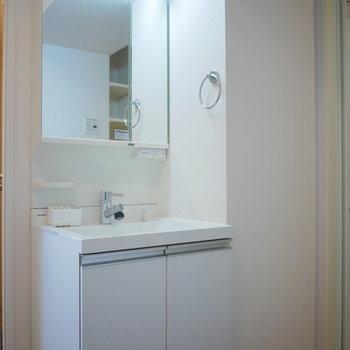 すっきりしたデザインの独立洗面台 (※写真は4階の同間取り別部屋のものです)