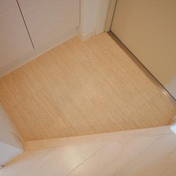 玄関はコンパクト (※写真は4階の同間取り別部屋のものです)