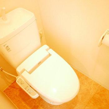 ウォシュレット付きのトイレ (※写真は4階の同間取り別部屋のものです)