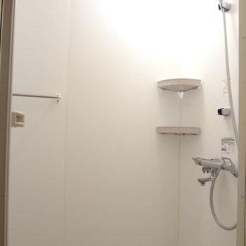 浴槽はありません。シャワーで我慢・・(※写真は3階の同間取り別部屋のものです)