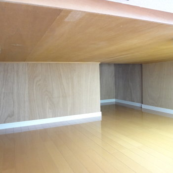 ベッド下には、こんなに広々とした収納スペースが。電気もちゃんとついていますよ。(※写真は3階の同間取り別部屋のものです)
