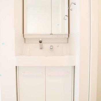 サニタリーへ。鏡の大きな独立洗面台。※写真は前回募集時のものです