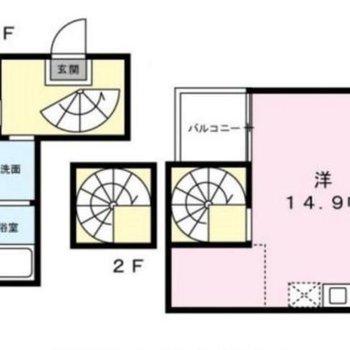 3フロア構造のユニークな間取り。