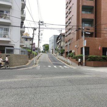 大通りからはちょっと坂になっています。