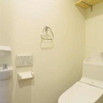 トイレの上部には棚が。手洗い場もあります