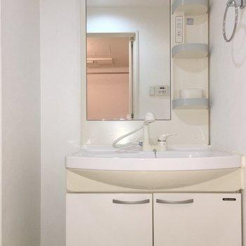 洗面台も広々です。(※写真は5階の反転間取り別部屋のものです)