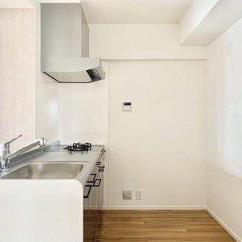奥に冷蔵庫かな。 (※写真は6階の同間取り別部屋のものです)