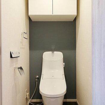 トイレは近代的なフォルム。ここにも抜かりなくクロスを入れています。