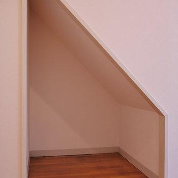 シュッと階段下収納。