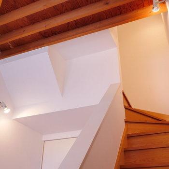 階段を上がって。