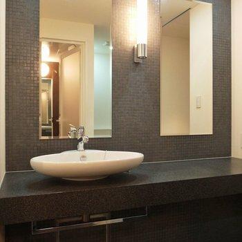 洗面所も高級感あり、スペースも十分確保!(※写真は5階の同間取り別部屋のものです)