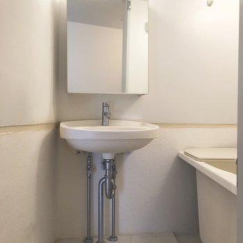 洗面台は鏡に収納が可能。
