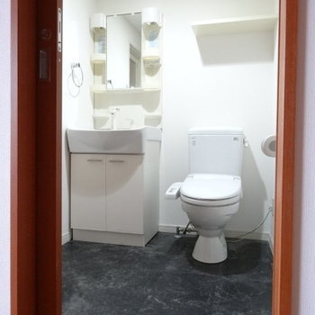 脱衣所に洗面台とトイレ。スペースしっかり◎