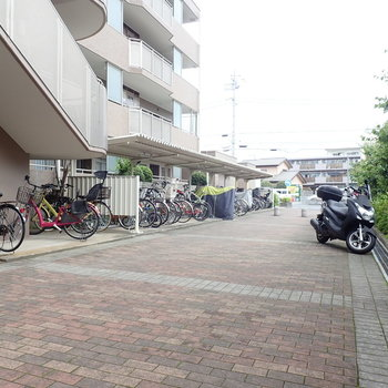 駐輪場のお隣には駐車場があります。