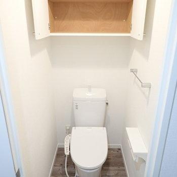 トイレ上にも収納、掃除用品などをどうぞ。