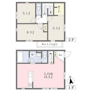 1階にLDK、2階に3部屋。