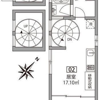 1階〜3階まで螺旋階段で登りましょう