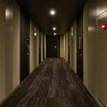 高級ホテルの廊下、と言われたら信じてしまいそうです。